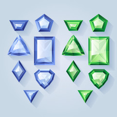 Set of realistic jewels. Colorful gemstones - blue and green.