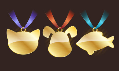 Set of glossy golden pet tags on ribbons.