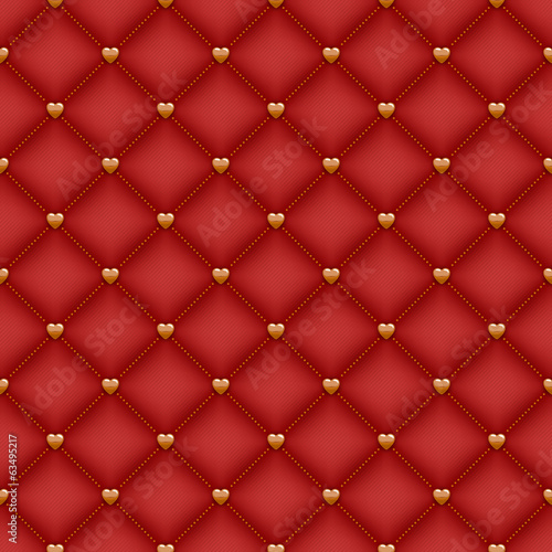 Seamless red quilted background with golden heart shaped pins.