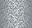 Silver luxury vintage wallpaper, damask design