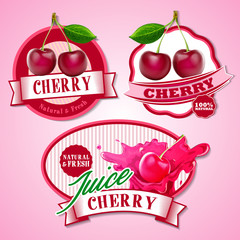 cherry badges and stickers