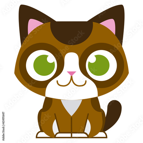 Cartoon Adorable Little Cat Isolated Illustration