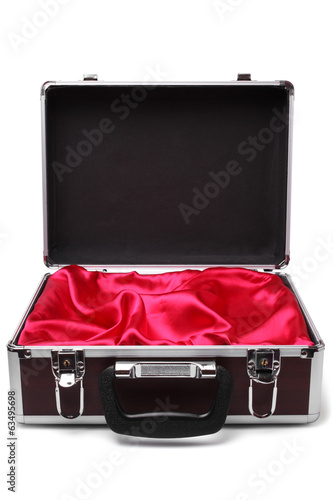Open padded aluminum briefcase