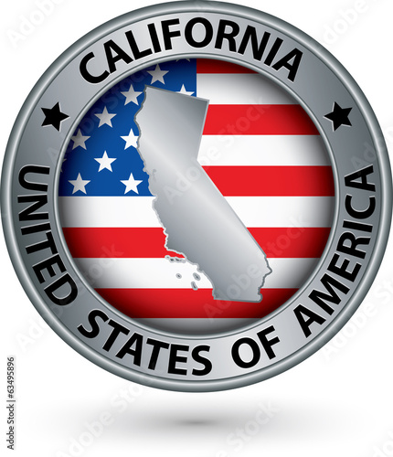 California state silver label with state map, vector illustratio