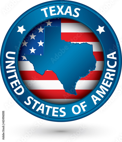Texas state blue label with state map, vector illustration
