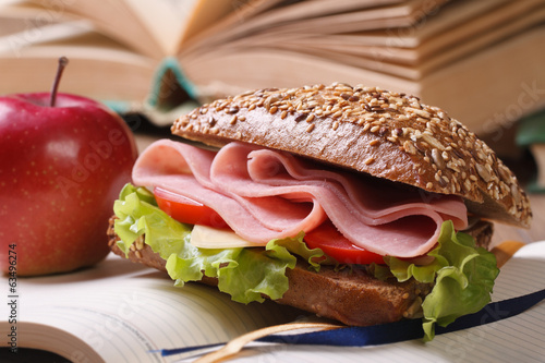 sandwich with ham and vegetables and red apple on open notebook