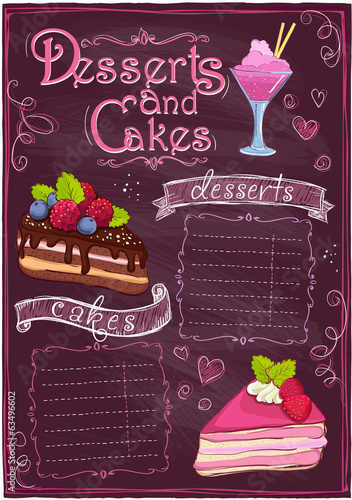 Chalkboard desserts and cakes menu.