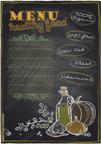 Chalkboard healthy food menu.