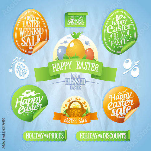 Easter sale designs and stickers collection.