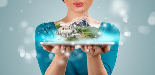 Unrecognizable woman presenting her virtual architectural projec