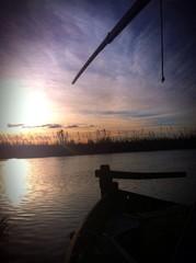 En la barca al atardecer