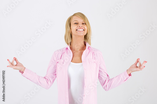 lovely woman showing ok sign
