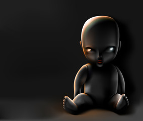 Doll on dark background
