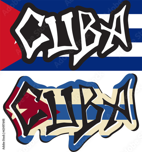 Cuba word graffiti different style. Vector