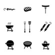 Vector black barbecue icons set - 63497861