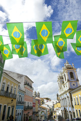 Pelourinho Salvador Brazil with Brazilian Flag Bunting
