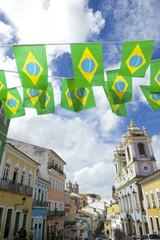 Pelourinho Salvador Brazil with Brazilian Flag Bunting