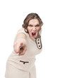 Plus size woman pointing the finger and screaming