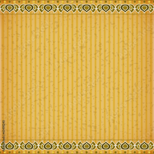 Gold Lotus on orange card board texture