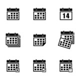 Vector black calendar icons set - 63498450
