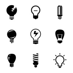 Vector black bulbs icons set