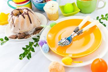 Easter table arrangement eggs sweets