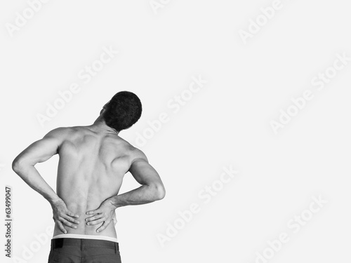 man have a backache with pain