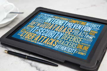 tablet with it security word cloud
