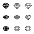 Vector black diamond icons set - 63499848