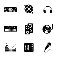 Vector black dj icons set