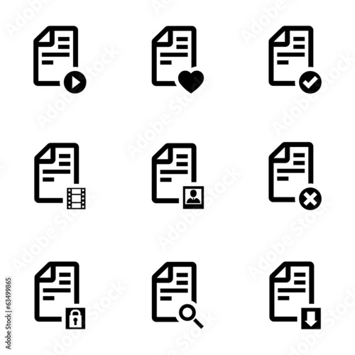 Vector black documents icons set