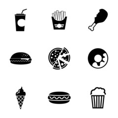 Vector black fast food icons set