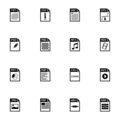 Vector black file type icons set