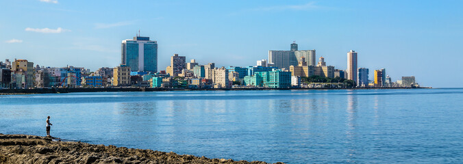 Havana Malecon - Centre and Vedado. Panorama of Havana's.