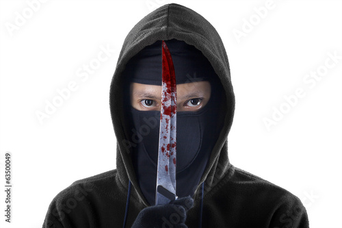 A man with bloody knife