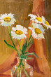 camomile in vase painted oil on canvas.
