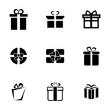 Vector black gift icons set - 63500600