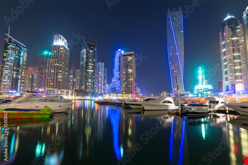 Skyscrapers of Dubai Marina at night, United Arab Emirates