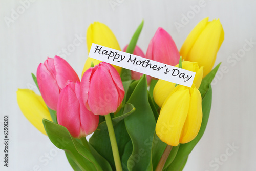 Happy Mother's Day card with colourful tulips