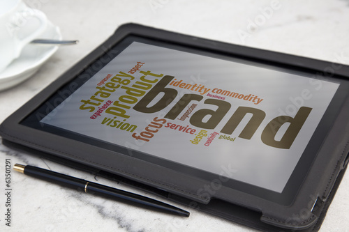 tablet with brand advertising word cloud