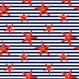 Seamless striped pattern with starfish