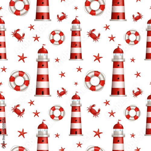 Nautical seamless pattern. Vector illustration.