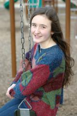 Playground swing smile