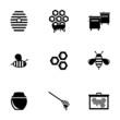Vector black honey icons set