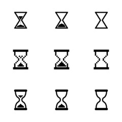 Vector black hourglass icons set