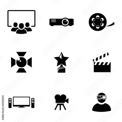 Wektor czarne zestaw ikon filmu