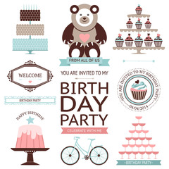 Vector set of birthday celebration icon isolated on white