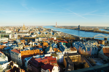 Riga (Latvia)  in the evening.  The view from St.Peter's Church