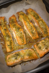 Baked fish fillets in an oven pan