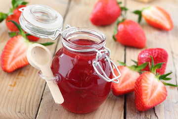 Fresh strawberry jam in glass jar
